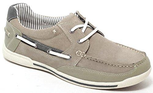 Echt Leder Segelschuhe Bootsschuhe Slipper Mokassin Sailor Shoes für Damen und Herren Gr. 41 beige