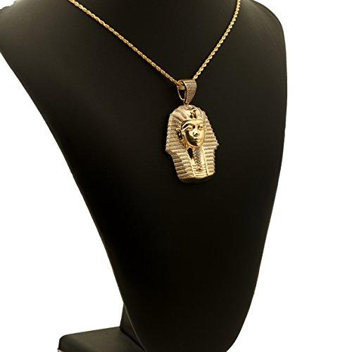 Love Bling 10k Yellow Gold Egyptian Pharaoh Head Charm Pendent (2.72'' x 1.58'') by LoveBling (Image #3)