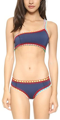 Summer Mae Women's Hand-made Crochet Hem One Shoulder Swimwear Two Piece Bkini