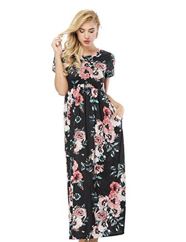 DANALA Women's Floral Print Crew Neck Short Sleeve Maxi Casual Beach Dress Black M (In Short Empire Black Dress Sleeve)