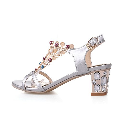 Sandals Buckle Toe Open Silver Soft Material AmoonyFashion Assorted Color heels Womens Kitten S0Iq4v