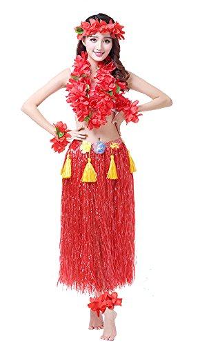Rosemary Hawaiian Hula Dance Costume Ballet Show Cosplay Dress Skirt Garland For Adult 80CM Full Sets (Hawaiian Costume Fashion Show)