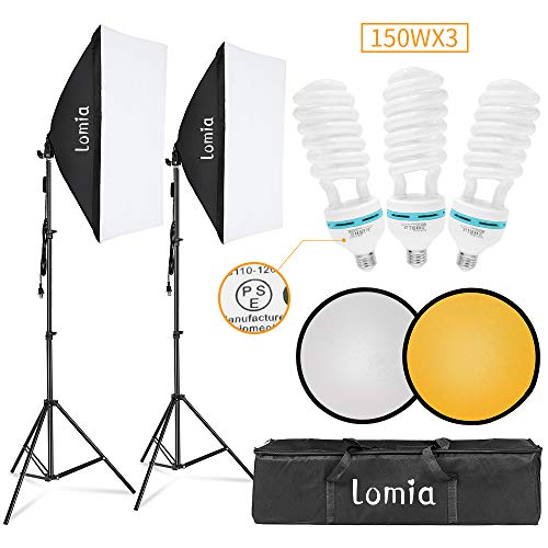 Lomia Softbox Lighting Kit 2 Photo Studio Lighting Soft Boxes 20x28 inch (50x 70cm) Professional Photography Lights Equipment with 3 x 150W Bulbs 2 in 1 Light Reflector and Carrying Bag