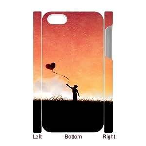 3D IPhone 4/4s Case Boy with Love Heart Balloon, IPhone 4/4s Case Heart & Love, [White]