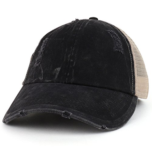 Trendy Apparel Shop Ladies Ponytails Unstructured Distressed Mesh Back Trucker Cap - Black