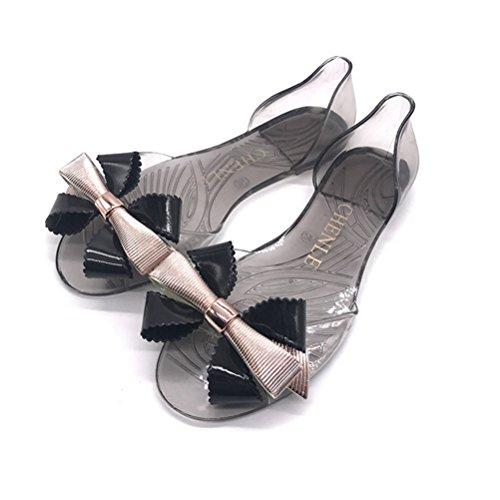Bowtie Shoes gelée Soft Peep Flip Flop JRenok Beach Douce Sandales Crystal Plates Noir Femmes PVC Toe Slides Sandales qnxn0SR