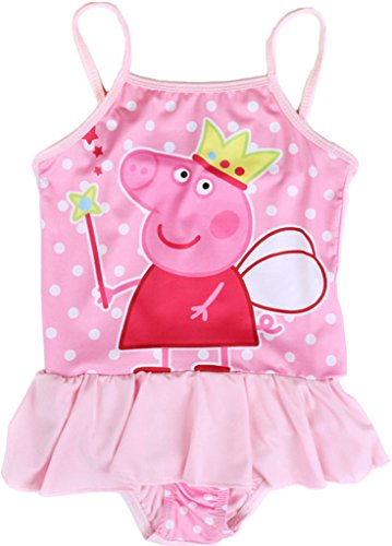 Toddle Peppa Pig-Baby Girls Flower Flounced One Piece Tankini Swimsuit Swimwear, Pink, 2-3 Years