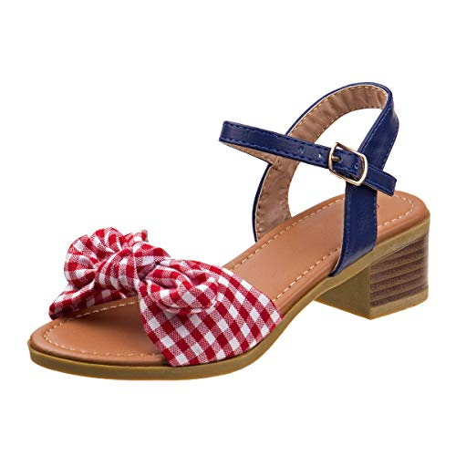 Kensie Girl Gingham Bow Sandals with Easy Elastic Buckle and Rugged Sole, Red, Size 4 M US Big Kid' from Kensie Girl