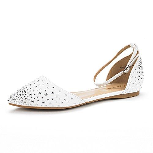 Paires De Rêve Womens Flapointed-nouveau Dorsay Ballet Chaussures Chaussures Shine-white