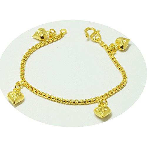Baby Girls Heart Bracelets Bangle 23k 24k Thai Baht Yellow Gold Plated ()