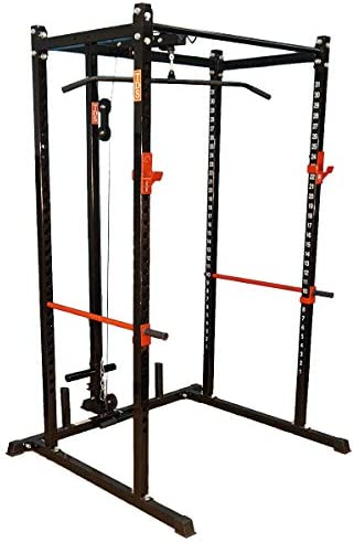 TDS Power Rack, Squat Cage black with Lat Row Attachment Package