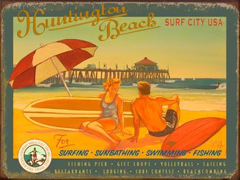 Huntington Beach Surf City Metal Sign: Surfing and Tropical Decor Wall ()