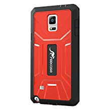 roocase Galaxy Note 4 Case, KAPSUL Note 4 Tough PC / TPU Hybrid Armor Military Case with Built-in Screen Protector for Samsung Galaxy Note 4 (2014), Red