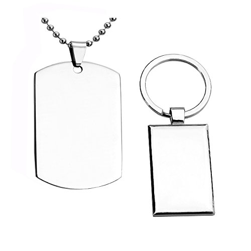 JOVIVI Free Engraving - Personalized Military Army Style Stainless Steel Dog Tag ID Pendant Necklace/ Alloy Rectangle Dog Tag Keychain
