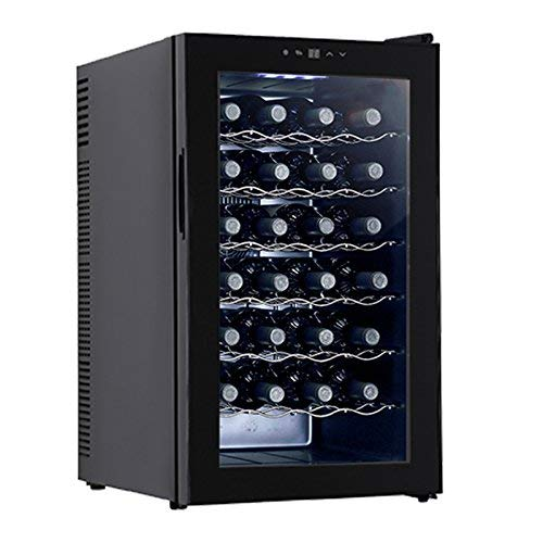 KUPPET BCW-70A 28 Bottles Thermoelectric Freestanding Wine Cooler/Chiller-Red/White Wine, Beer and Champagne Wine Cellar-Digital Temperature Display-Double-layer Glass Door-Quiet -