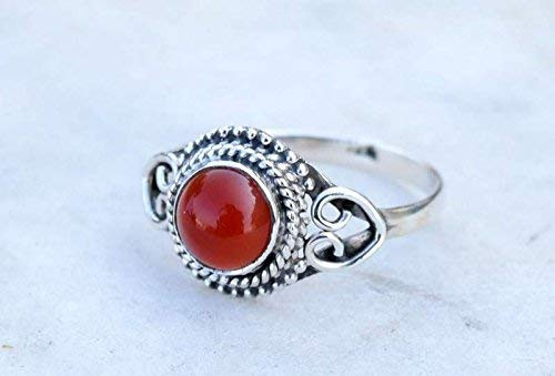 925 Sterling Silver Orange Carnelian Ring Size US 7 - Carnelian Stone Gemstone Statement Ring Gift Jewellery For Girl Women