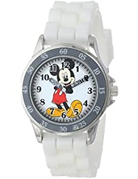 Kids' MK1240 Silver-Tone Watch with White Rubber Band