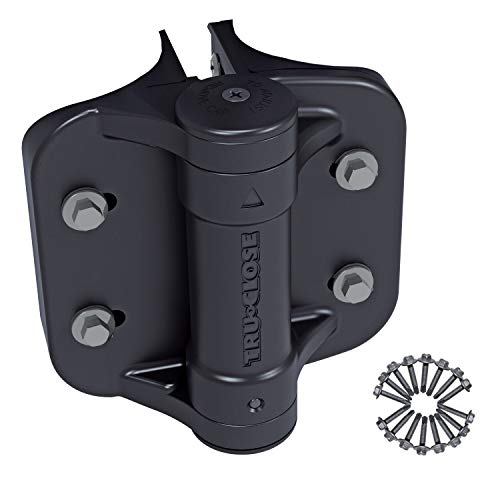D&D Technologies TruClose TCHDRND2-MK2 Heavy Duty Gate Hinge, Self Closes Gates Up to 132 lb, Tension Adjustable, for Larger Round Post or Chain Link Gates, (Black)