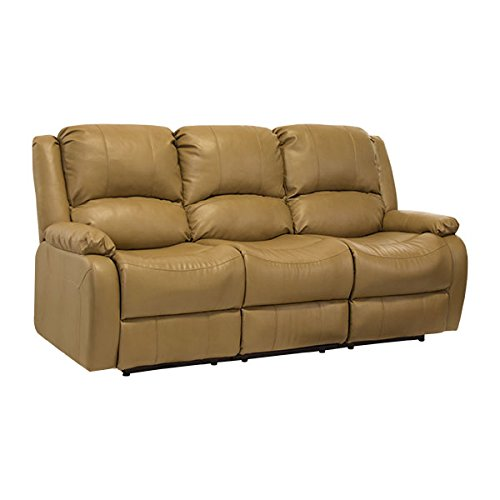 RecPro Charles 80″ Triple RV Zero Wall Hugger Recliner Sofa w/ Drop Down Console Toffee