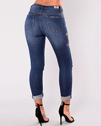 Impresión Boyfriend De Denim Mujer Flores Marino Azul Pantalones Vaqueros Rotos Pantalón Jeans HIxXXwg