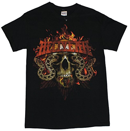 - Hellyeah Mens T-Shirt - Flaming Snake Eyed Skull Image