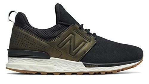 (ニューバランス) New Balance 靴?シューズ レディースライフスタイル Nubuck 574 Sport Black with Metallic Gold ブラック メタリック ゴールド US 6.5 (23.5cm)