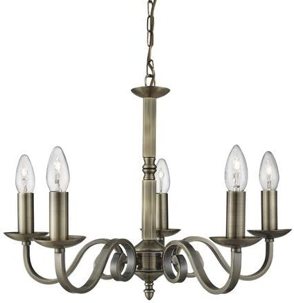 5 Light Drum Shade Chandelier with Antique Brass finish