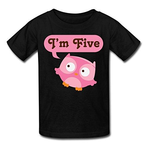 Spreadshirt Kids' Owl 5th Birthday T-Shirt, black, M