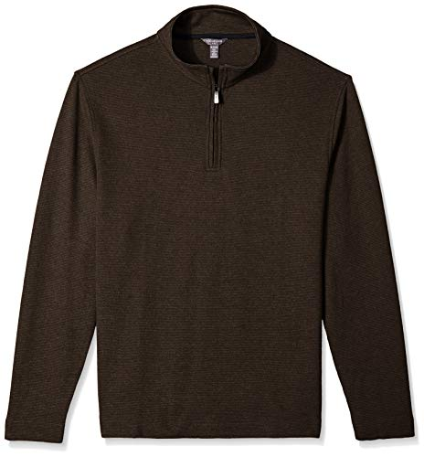 Van Heusen Men's Flex Long Sleeve 1/4 Zip Ottoman Solid Shirt, Brown Burnt Umber, XX-Large