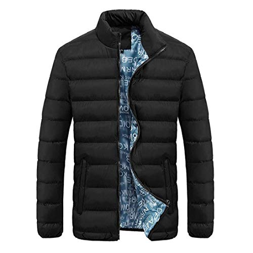 Thick Fit Warm Slim Winter Quilted Stand Coat Jacket Parka Coat Outdoor Quilted Schwarz Sleeve Jacket Collar Outerwear Solid Down Men Long Color w6fOq