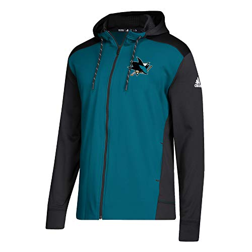 (adidas NHL Mens 2018 Fleece Full Zip Pullover (Small, San Jose Sharks))