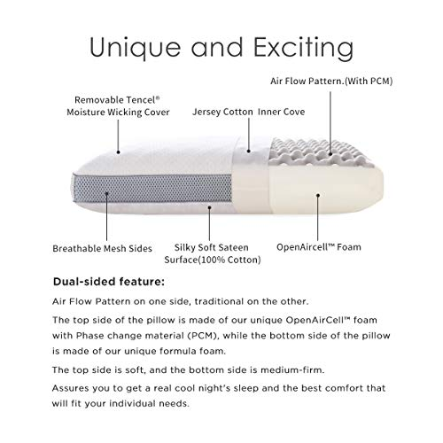 Polar Sleep Memory Foam Pillow for Sleeping,2-in-1 Bamboo Charcoal Ventilated, for Back, Stomach, Side Sleepers,Hypoallergenic Antimicrobial Ergonomic Orthopedic Cooling Gel Pillow, CertiPUR-US