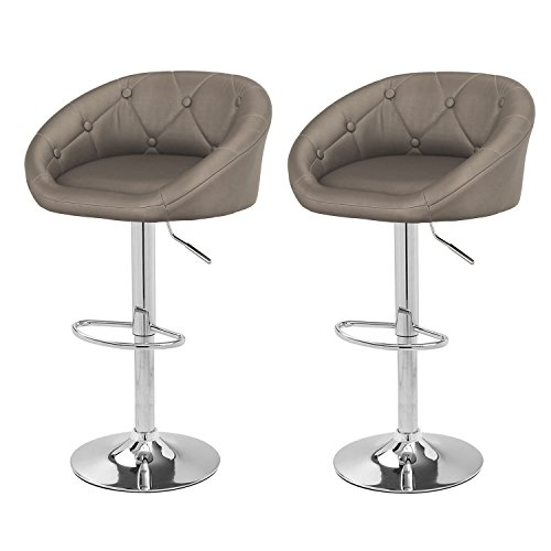 Joveco 360 Degree Swivel Adjustable Leather Button Tufted Hydraulic Bar Stools – Set of 2 Gray