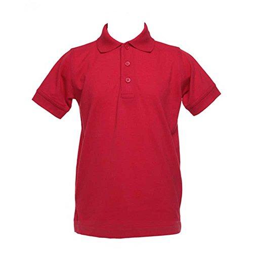 Kustom Kit Klassic Kids Colours Short Sleeve Polo Shirt With Superwash 60°C Red