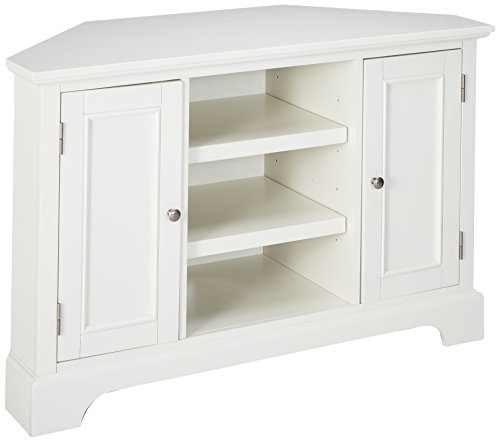 Solid Wood Corner Tv Stand - Home Styles 5530-07 Naples Corner Entertainment Credenza, White Finish