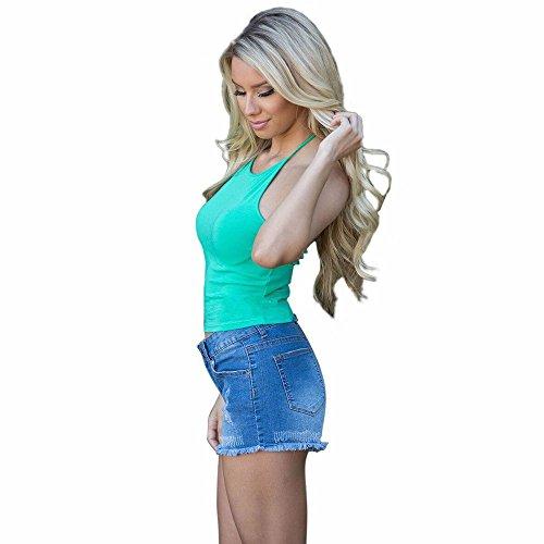 KIKOY Womens Summer Solid Sleeveless Crop Tops Backless O-Neck Tank Tops Blouse Green