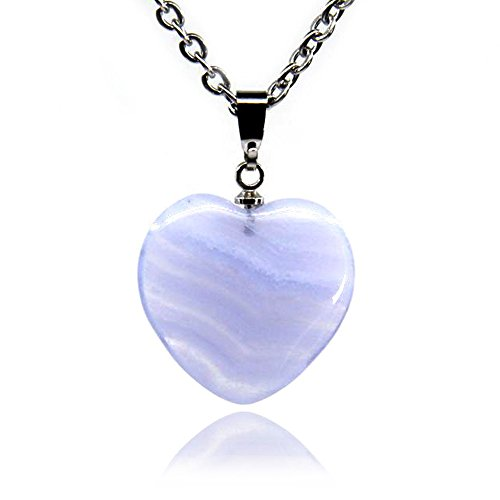 - Gemstone Natural Blue Lace Agate Heart Charm Pendant Necklaces 18