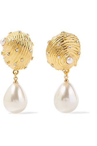 - KENNETH JAY LANE, SATIN GOLD WITH SCATTERED CRYSTALS & PEARL DROP EARRING