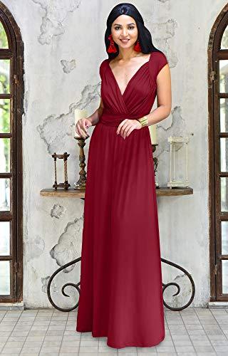 Koh Koh Maxikleid Cocktail Damen Kleid Reizvolles Lang Rot Flügelärmeln Brautjungfern mit Party danBH7Axaw