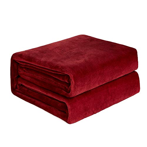 (NEWSHONE Flannel Fleece Luxury Blanket - Lightweight Cozy Plush Throw Blanket Twin,Queen,King Size(90inX108in, Red))