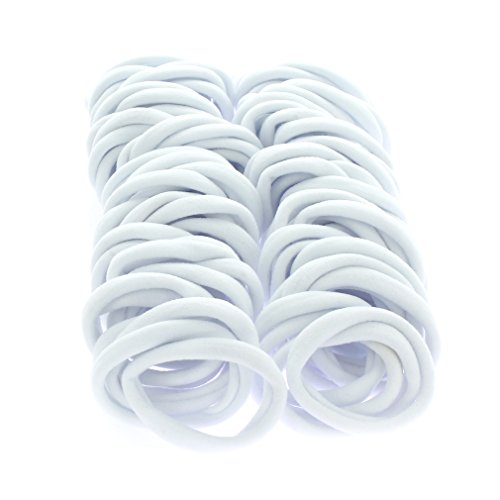 Large Thick Premium Ponytail Hair Bands - Seamless - White 100pcs ()