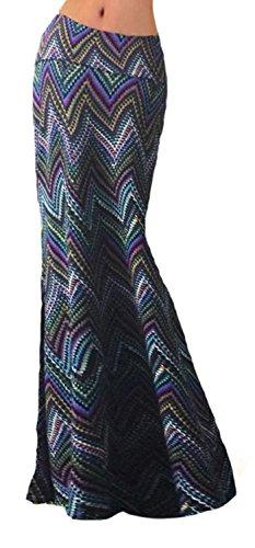 ( Women Fashion Printed High Waisted Beach Maxi Skirts Long Skirt(Geometric 3),  Medium)