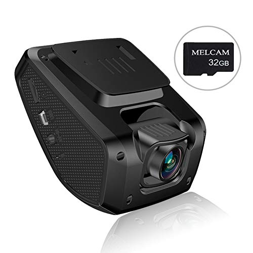 Dash Cam, Melcam Driving Recorder with 32GB SD Card, FHD 1080P, 3″ LCD Screen, Parking Mode, 150° Angle, G-Sensor, Loop Recording, Night Vision, WDR