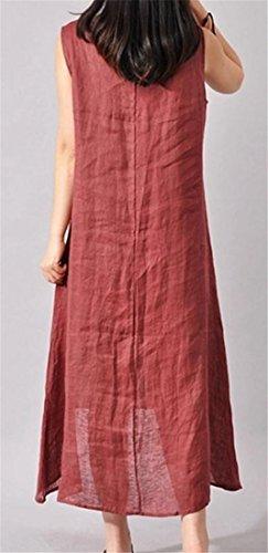 Dell'inchiostro Lino Di Maniche Rosso Irregolare Cromoncent Canotta Vestito Womens Stampa Senza Vino Maxi E4YqInZxw