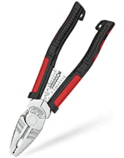 Linesman Pliers Multi-function Combination Pliers, Screw Extractions Pliers, 8-inch Portable Heavy Duty Pliers with Wire Stripper/Crimper/Cutter/Gripping Function, 5 Ways Crimping, Heavy Duty Pliers
