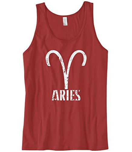 Cybertela Men's Distressed Aries Sign Tank Top (Red, Small)