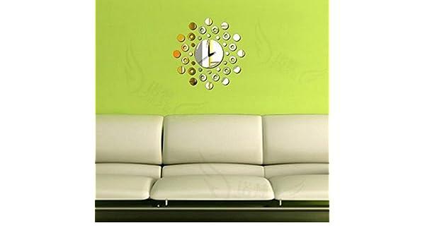 sucastle, Círculo, espejo, para pared, Reloj, esfera: metal ...