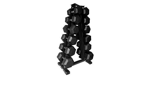 Cuerpo revolución Heavy Duty Rack de mancuernas hexagonales - pesos de almacenamiento - capacidad para 6 pares - Vertical un marco, Rack + 1 - 6kg (Pairs) ...