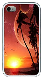 iPhone 4S Case,Foreign Beach TPU Custom iPhone 4/4S Case Cover Whtie