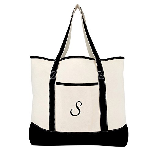 DALIX Monogram Bag Personalized Totes For Women Open Top Black Letter S by DALIX (Image #2)